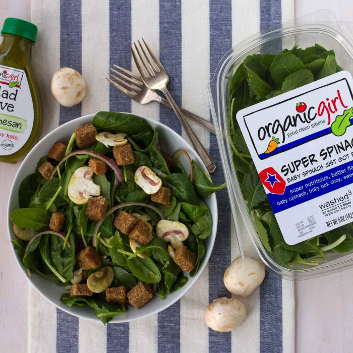SUPER SPINACH! and mushroom salad