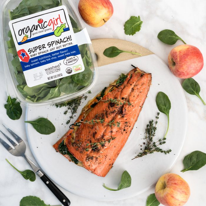 apple and spinach stuffed salmon recipe from organicgirl
