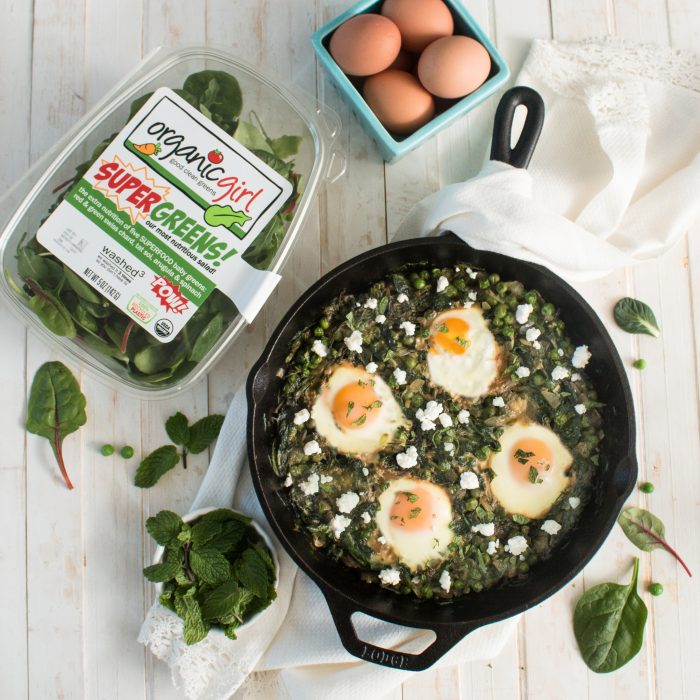 green shakshuka with feta
