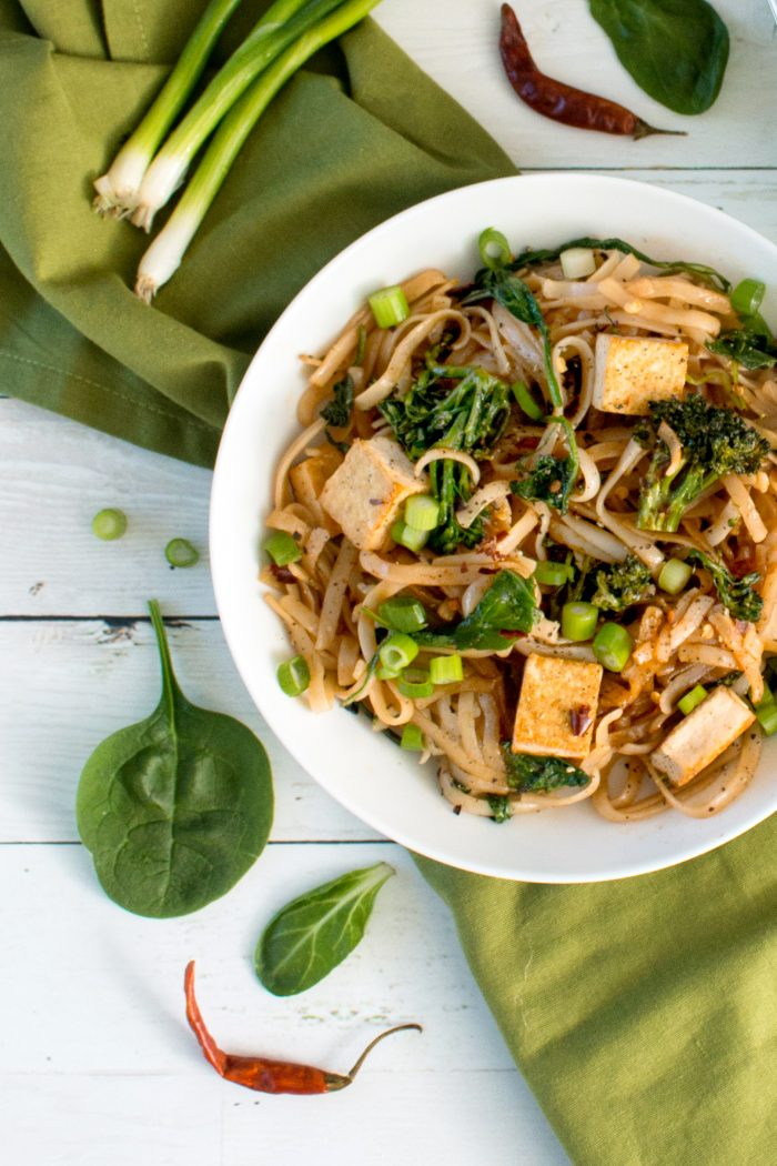 vegan thai-style noodles with greens and broccoli